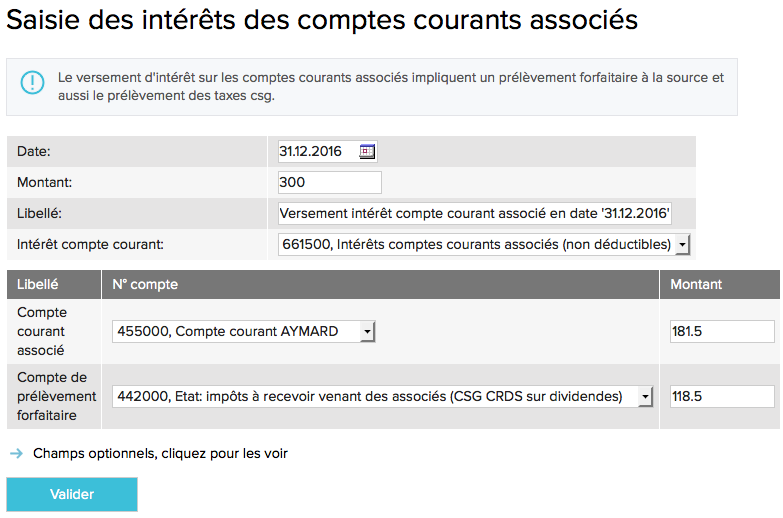 Comptabilisation des interets des comptes courants associes-ecran1